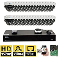 GW Security 32CH H.265 8MP 4K NVR 4MP (2592 x 1520) Plug & Play POE IP Camera System, 32pcs 4MP 1520p 2.8-12mm Varifocal Zoom Weatherproof Dome Security Cameras, Pre-Installed 8TB HDD and More