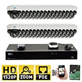GW Security 32CH H.265 4K NVR 4-Megapixel (2592 x 1520) 4X Optical Zoom Network Plug & Play Video Security System, 32pcs 4MP 1520p 2.8-12mm Motorized Zoom POE Weatherproof Dome IP Cameras