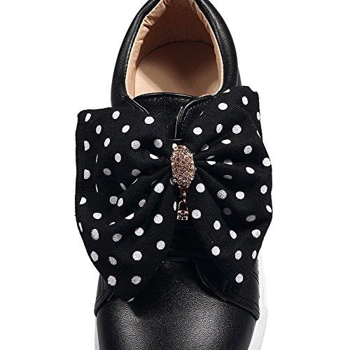 Allhqfashion Mujeres Pu Redondo-toe Low-heels Low-heels Hook-and-loop Solid Bombas-zapatos Negro