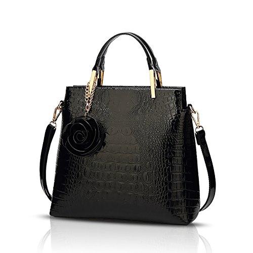 Tisdaini Lady Handbag Crocodile Pattern Bright Personality Fashion Designer Handbag Shoulder Diagonal Package Black