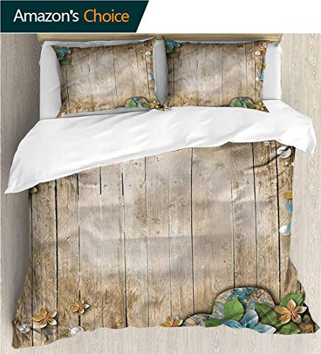 (King Duvet Cover Set,Box Stitched,Soft,Breathable,Hypoallergenic,Fade Resistant Bedding Set Cover With 2 Pillow Shams Decorative Quilt Cover Set -Pearls Lace On Rustic Wooden Planks (68