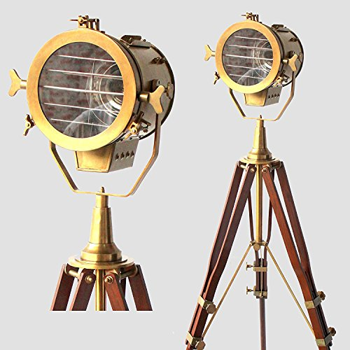 Vintage Old Century Morden Searchlight Nautical Lamp Timber Tripod Antique Spotlights