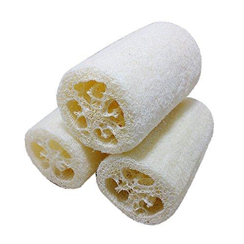 - Max Corner Natural Loofah Exfoliating Sponge, Bath Body Organic Scrub Wash Skin Shower Luffa Loofa Sensitive Brush For Women 3pcs/set