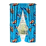 Disney/Pixar Cars 2 Movie City Limits Blue Drapery/Curtain 4pc Set (Two Panels, Two tie Backs) wth Lightning McQueen, Mater & Flash (Offical Pixar Product)