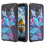 Phonelicious Slim Series Case for GreatCall Jitterbug Smart 2 [Shock Proof] [Slim Fit] Hybrid Dual Layer Phone Cover (Blue Butterfly)