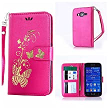 CUSKING Galaxy Core Prime Case, Leather Wallet Case for Samsung Galaxy Core Prime Magnetic Flip Folio Lifeproof Protective Skin Case Golden Butterfly Pattern Design Back Cover with Card Holder - Hot Pink