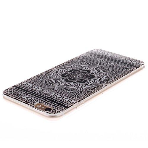 iPhone 6/6S 4.7 Funda,Ligero a Prueba de Choques Flexible Ultra Fino Suave TPU Parachoque Carcasa MAGQI Tecnología IMD Diseño Impreso Vendimia Serie Patrón [Absorción de Impacto] Resistente a los Ara Negro Tótem Floral