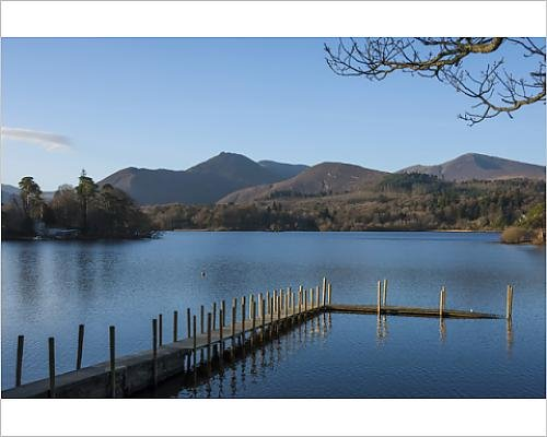 10x8 Print of Causey Pike and Grisedale Pike from the boat landing, Derwentwater, Keswick (Keswick Boat)