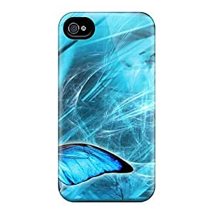 Awesome Love Kiss Defender Tpu Hard Case Cover For Iphone 4/4s- Blue Butterfly