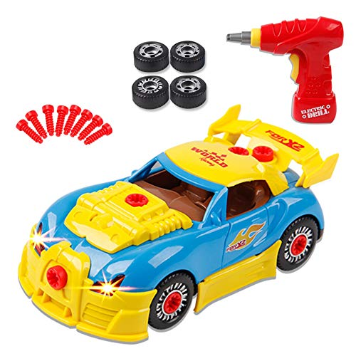 Children's Screw Toy Building Blocks car Parts Construction and Electric Drill Sound and Light Children Creative Tools Educational Toys ()