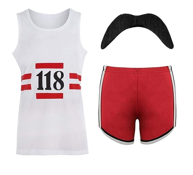 TrendyFashion 118 Dama Mujer Disfraz Marathon Retro Chaleco Pantalones Cortos Calcetines de Tash Peluca: Amazon.es: Ropa y accesorios