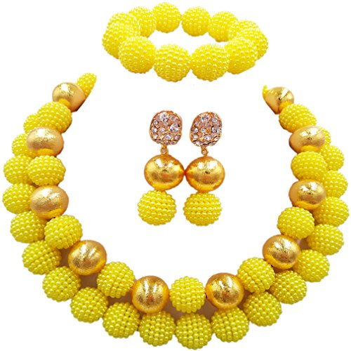 aczuv Nigerian Wedding African Beads Red Jewelry Sets for Women Simulated Pearl Necklace and Earrings ()