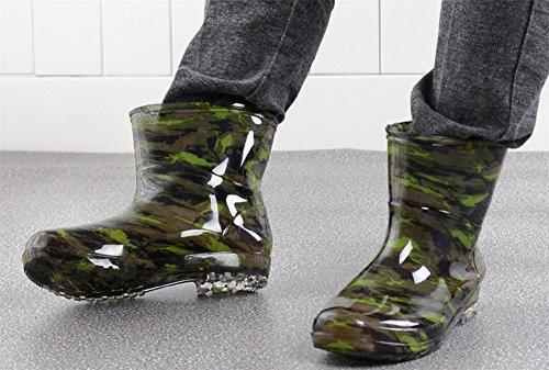 Satuki Adulte Mens Antidérapant Cheville Courte Haute Chaussures En Caoutchouc Bottes De Pluie Camouflage-2