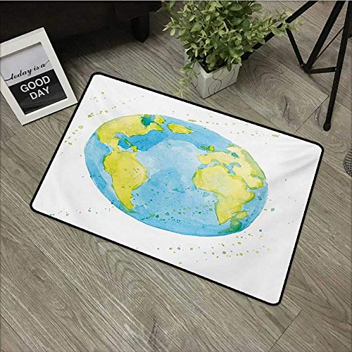 Corridor Door mat W24 x L35 INCH Earth,Hand Drawn Watercolor Style Earth Kids Art with Color Stains,Pale Blue Yellow Pistachio Green with Non-Slip Backing Door Mat Carpet