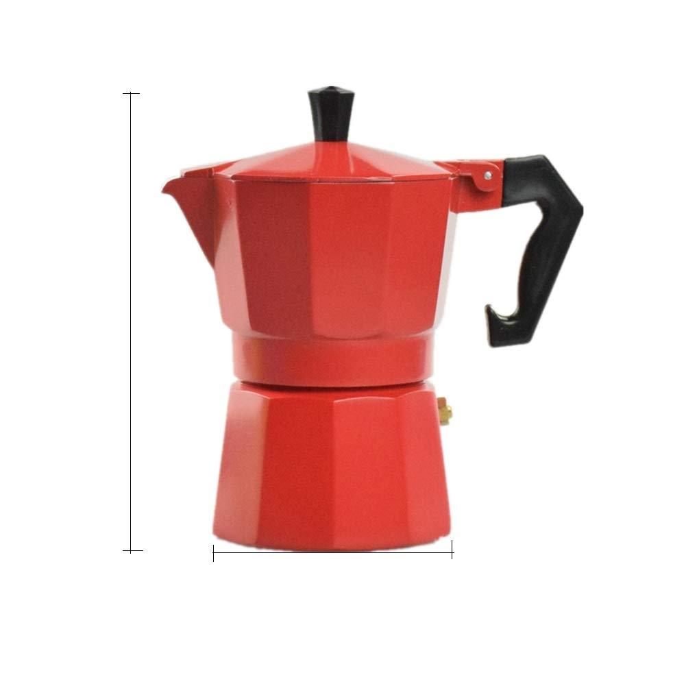 Italian Espresso Coffee Maker Stove Aluminum Mocha Pot Italian Coffee Pot Filter Pot Moka Pot 3 Cup for Hot Barista Style Coffee AFCITY Cafetiere Coffee Color : Red