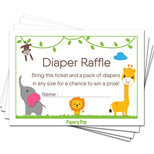 50 Diaper Raffle Tickets for Baby Shower Boy or Girl (50 Pack) - Bring a Pack of Diapers to Win a Prize - Baby Shower Invitations Inserts Request Cards Games Decorations Supplies - Jungle Zoo Animals -