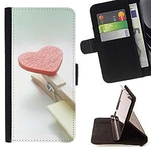- Heart and clips - - Monedero PU titular de la tarjeta de cr????dito de cuero cubierta de la caja de la bolsa FOR Samsung Galaxy A3 RetroCandy