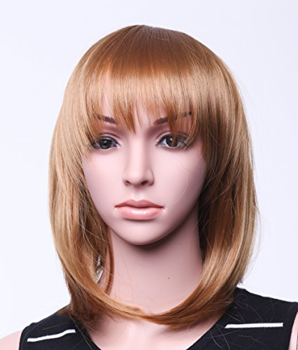 "SWACC 11"" Women Short Straight Synthetic Bob Wig Candy color Cosplay Wig Anime Costume hairpiece for Party with Wig Cap (Light (Brunette Halloween Costumes)"