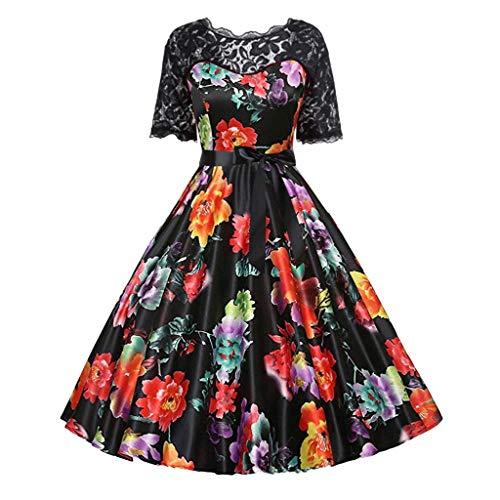 HDGTSA Women Cocktail Dresses Patchwork Musical Notes Print Vintage Flare Lace Sleeve Party Dress(N Black,S)