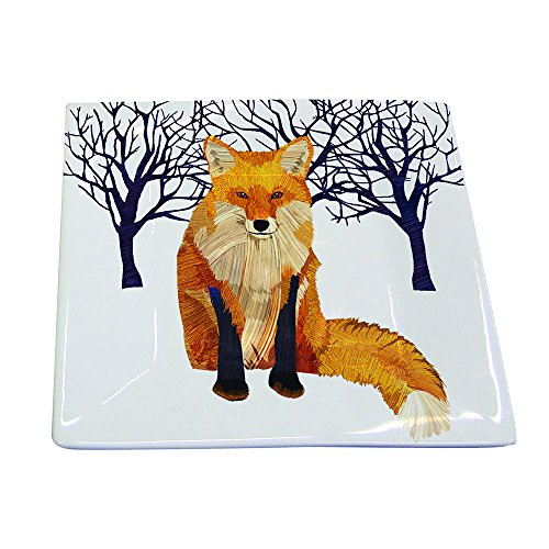 Paperproducts Design Winter Solstice Fox Square Appetizer Dessert Plate, 5.75-Inch, (Fox Square)