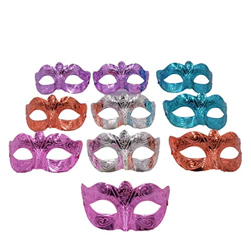 Masquerade Mask Party Favors - Mardi Gras Venetian Mask Halloween Costume Novelty Gifts Pack of 12 (10pcs Mix) -