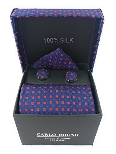 Mens Carlo Bruno 100/% Silk Red Patterned Tie Cufflinks /& Handkerchief Set Gift