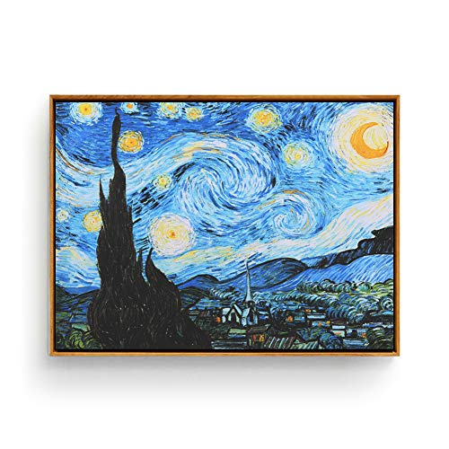 - Hepix Canvas Wall Art Van Gogh Starry Night Print Famous Oil Paintings, Modern Giclee Wall Artwork Abstract Landscape Wall Pictures for Home Office Decor Ready to Hang, 17x13inch (Framed)
