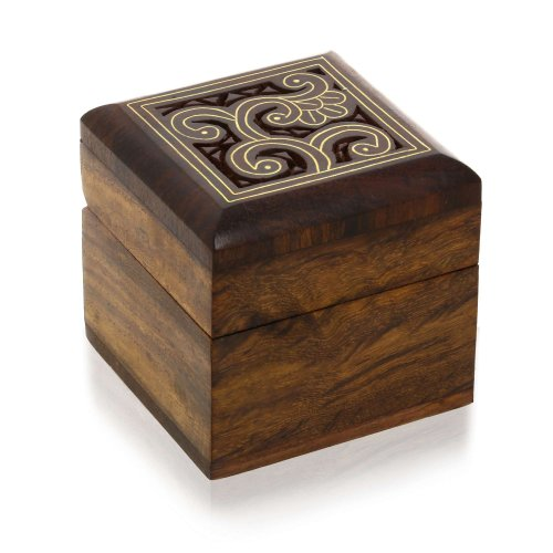 Wooden Small Box for Jewelry Rings Earrings Cufflinks Toe Rings Gifts (Small Earring Box)