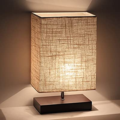 Ewalite Minimalist Romantic Solid Wood Table Lamp With Flaxen Fabric Shade Bedside Desk Lamp For Bedroom, Dresser, Living Room, Baby Room, College Dorm (Rectangle)