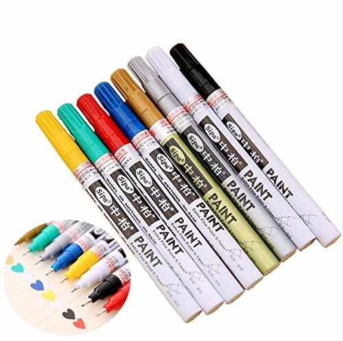 (BEMLP Oil-Based Paint Marker Pens 8 Colors 0.7mm Neelde Pens Extra Fine Point Permanent Marker Pen DIY Art Markers Graffiti Paint white paint tire marker )