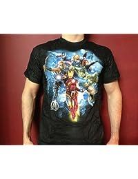 Avengers Team Tee Shirt (Black T-Shirt / M)