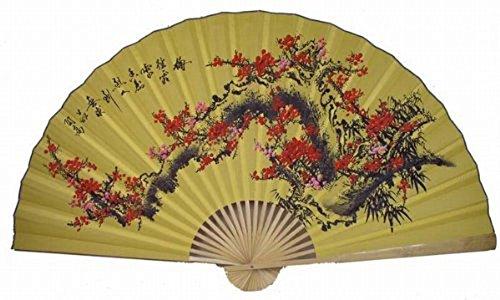 Oriental Feng Shui Wall Fan-Flowers - Yellow Wall Decor