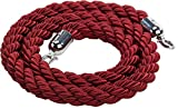 Displays2go 78'l Twisted Stanchion Rope, Nylon Construction, Polished Chrome Clipping Hooks – Red Rope (RPTWSCH01)