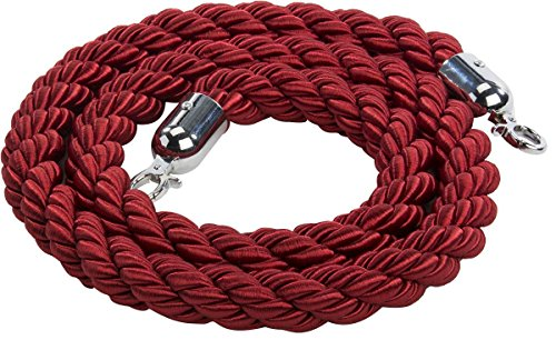 Displays2go 78'l Twisted Stanchion Rope, Nylon Construction, Polished Chrome Clipping Hooks – Red Rope (RPTWSCH01) from Displays2go