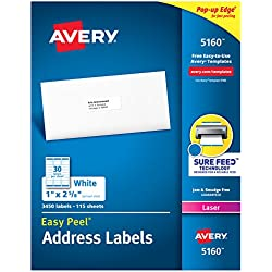 """Avery Address Labels with Sure Feed for Laser Printers, 1"""" x 2-5/8"""", 3,450 Labels – Great for FBA Labels (5160)"""