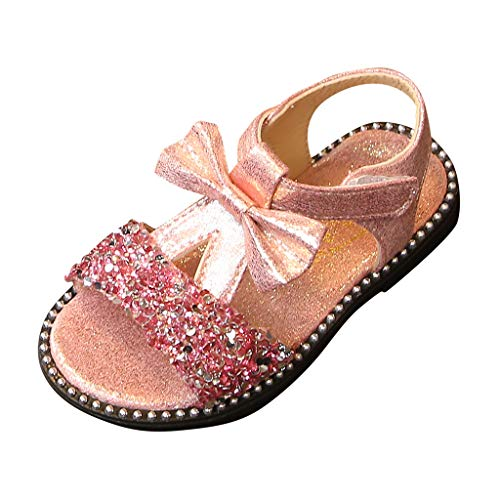 Girls Glitter Flat Sandals Summer Bowknot Open Toe Ankle Strap Dress Sandals for Kids Princess Shoes (Toddler/Little Kid) Pink (Summer Infant Bed Rail Pink)