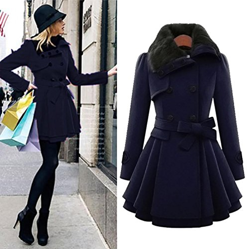Gotd Women Winter Jackets Coats Plus Size Warm Slim Fit Thick Parka Overcoat Long Outwear (S, Dark Blue) Closure Overcoat