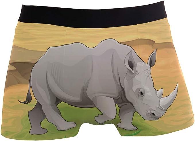 Mens Boxer Briefs Underwear Rhinoceros No Ride Up Cotton Stretch Short