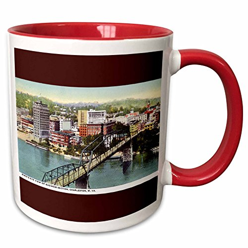 3dRose BLN Vintage US Cities and States Postcards - Birds Eye View of Business Section Charleston West Virginia - 15oz Two-Tone Red Mug (mug_170925_10)