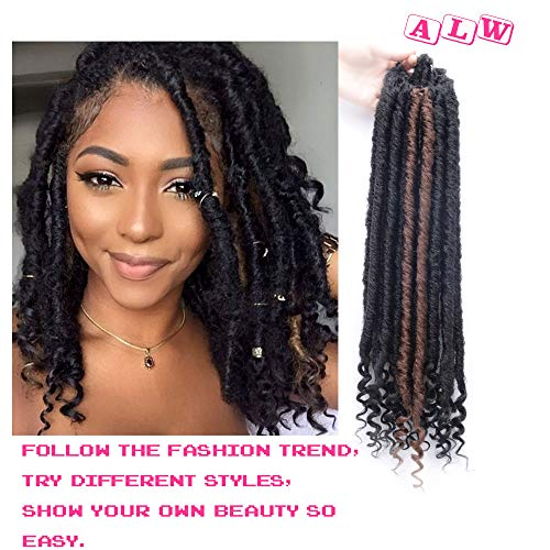AILEWEI Faux Locs Crochet Braiding Hair Curly DREADLOCK Middle-Length Faux Locs Nature Goddess Locs Crochet Hair Braids Synthetic Hair Extensions, 21 Roots/Pack, 3 Packs/lot,16 Inches (Best Hair Length For Dreadlocks)