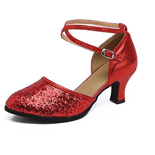 WYMNAME De Rouge Moyens Amitié Latine Danse Sandale Chaussures De Moderne Talons Danse Chaussures De Danse Chaussures Womens Carré rxYH6Tqrw