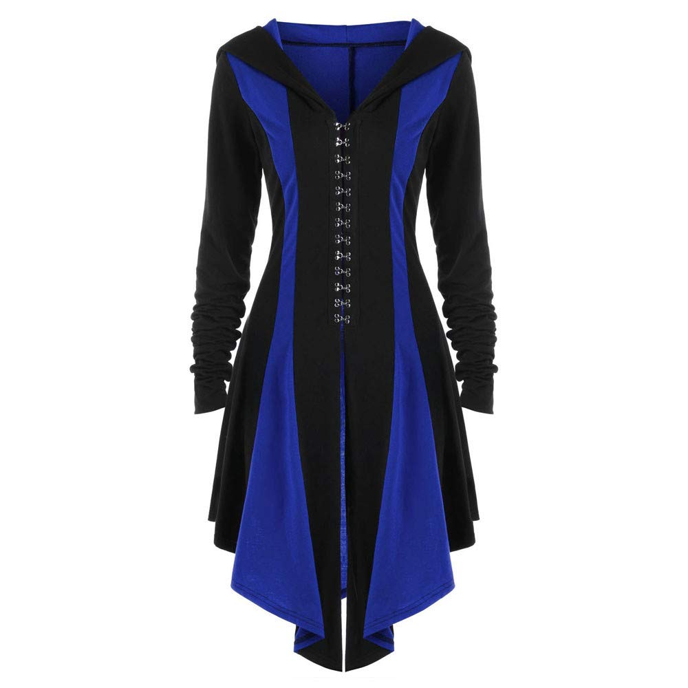 Kemilove Womens Halloween Costumes Hooded Robe Lace Up Vintage Pullover High Low Long Hoodie Dress Cloak by Kemilove (Image #4)