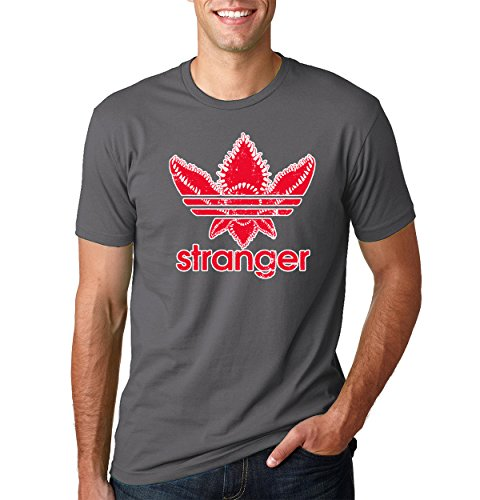 Wild Bobby Stranger Red Three Stripes Logo   Mens Pop Culture Tee Graphic T-Shirt, Charcoal, (Stripe Graphic Tee)