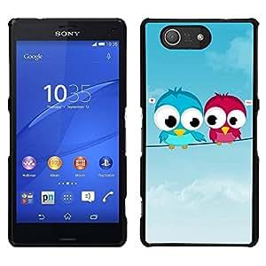 EJOY---Cubierta de la caja de protección para la piel dura ** Sony Xperia Z3 Compact ** --Pájaros lindos del amor