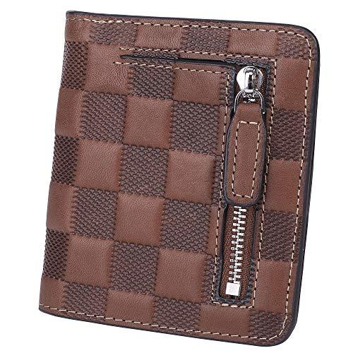 BIG SALE-AINIMOER Women's RFID Blocking Leather Small Compact Bifold Pocket Wallet Ladies Mini Purse with id Window (Checkered Coffee)