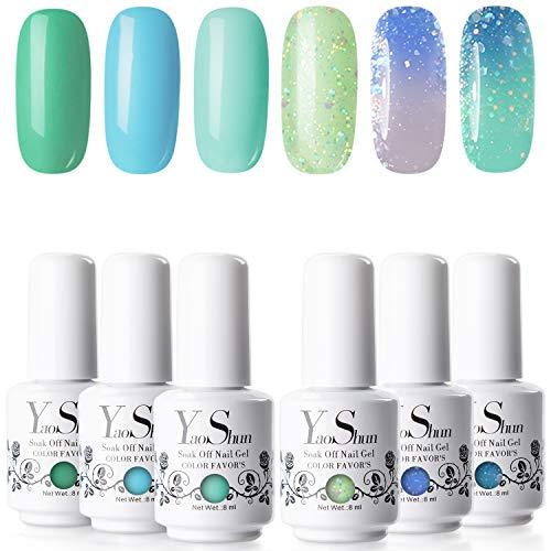 - Gel Nail Polish - YaoShun Gel Polish Kit Cool Summer Series Soak Off Nail Gel, UV LED Nail Gel 6 Colors Gift Box French Manicure Nail Art Gift Set 8ml