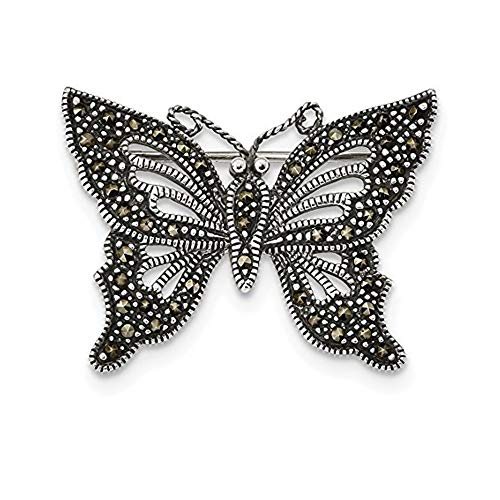 Solid .925 Sterling Silver Antiqued Marcasite Butterfly Pin 33.5 mm