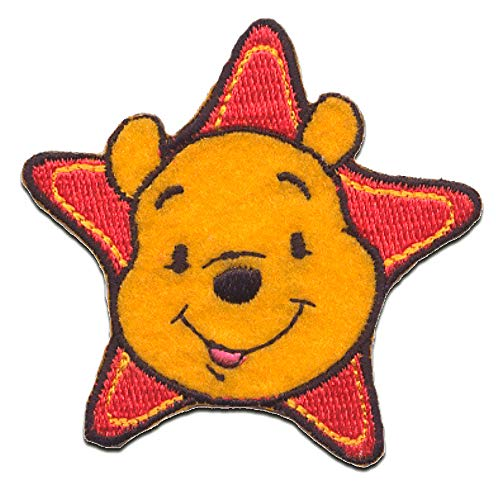 Iron on patches - WINNIE THE POOH 'STAR' - yellow - 6,2x6,2cm - by catch-the-patch Application Embroided patch badges