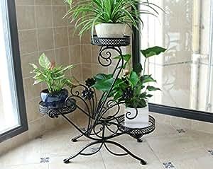 Flor de hierro estante 3 piso piso de flor stand balcón de la planta estante de flor europea ollas de hierro 45cm * 68cm (Color : Black)