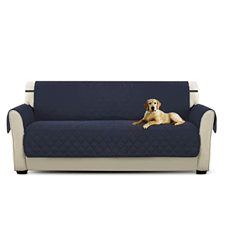 PETCUTE Fundas de Sofa Acolchado Cubre Sofa Protector de sofá para Mascotas Azul Profundo 3 plazas